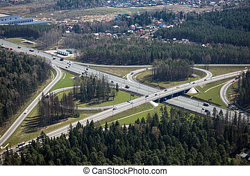 Highway interchange - Aerial view of a highway interchange...