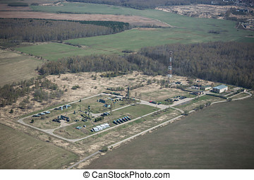 Russian military base - Aerial view of a russian military...