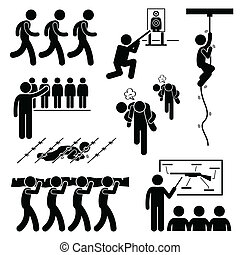Soldier Military Training Clipart - A set of human pictogram...