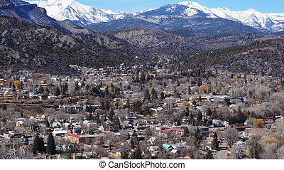 Beautiful scene of Durango, Colorado from the top