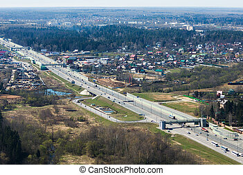 Multiple lane road - Aerial view of russian highway Novaya...