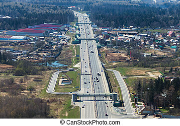 "Multiple lane road - Aerial view of russian highway ""Novaya..."