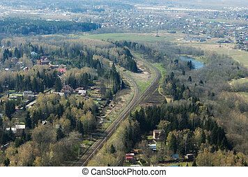 Railroads - Aerial view of railroads and villages