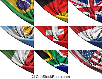 Set of different state flags including USA, UK, Germany,...