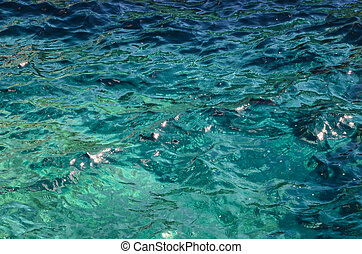 Detailed Texture Of Sea Water - Blue Still Sea Water With...