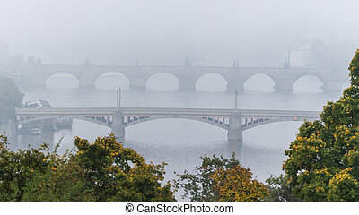 Manes and Charles bridge over Moldau river in mist - Manes...