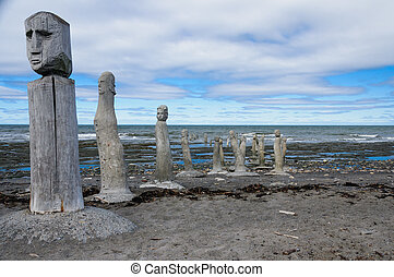 stonework statues leading into the St. Laurence River - The...