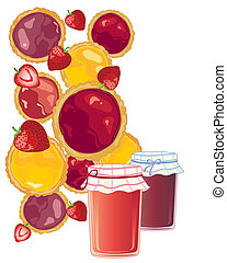jam tart background - an illustration of delicious colorful...