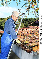 Gardener cleaning a rain gutter from leaves - A Gardener...