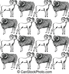 Sketch New Year ram in vintage style, seamless pattern