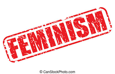 Feminism red stamp text on white