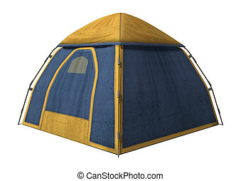 Camping Tent - 3D digital render of a camping tent isolated...