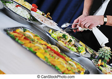 buffet - catering buffet food party preparation man