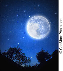 Starry Sky - Starry sky and full moon, Deep space and stars...