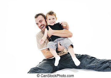 father and son isolated on white - happy father and son play...