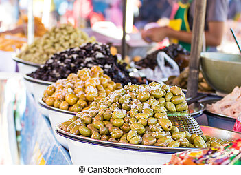pickled fruits in the market, Thailand