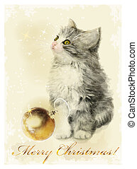Christmas card with fluffy kitten and golden ball. Vintage...