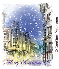 Christmas card  with illustration of city street.  Watercolor st
