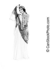 woman dress fashion - beautiful young woman in elegant...
