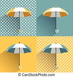Colored umbrellas. Flat vector sign