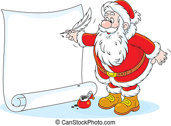 Santa Claus writing - Father Christmas writes his holiday ad...