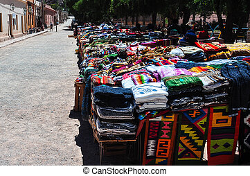 Colorful village and market of Purmamarca, Argentina.