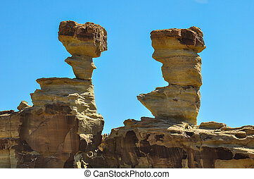 Ischigualasto rock formations in Valle de la Luna,...