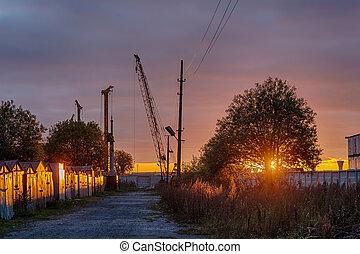 construção, pôr do sol, local
