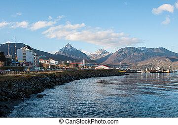 Ushuaia's boardwalk in Tierra del Fuego, Argentina.