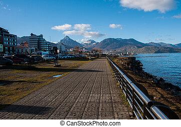 Ushuaias boardwalk in Tierra del Fuego, Argentina