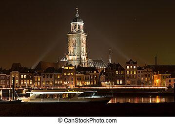 Dutch illuminated city skyline - Illuminated skyline of the...