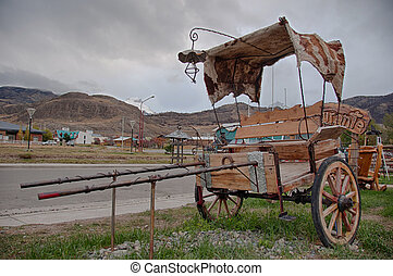 Antique carriage in El Chalten near Fitz Roy, Argentina