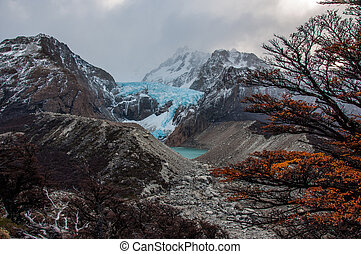 Glacier in the Fitz Roy Mountain range, Argentina