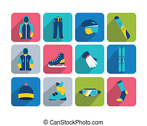 Winter sport and hiking icon - Winter sport and hiking flat...