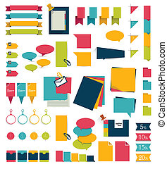 Set of stickers, reminders cards Flat vector collection