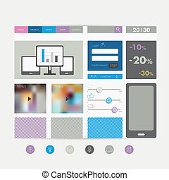 Simply flat web page Vector template