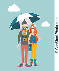 Hipster young couple concept Vector illustration