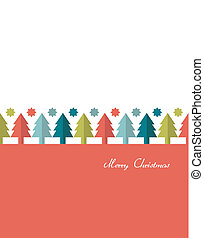 Christmas card. Flat tree concept.