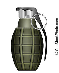 grenade - Green grenade on a white background