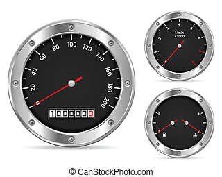 speedometer - Car dashboard elements on a white background.