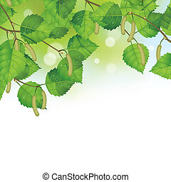Birch leaves background - Raster version of vector...