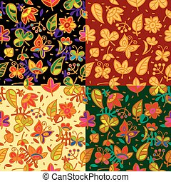 Seamless floral pattern set - Vector set of decorative...