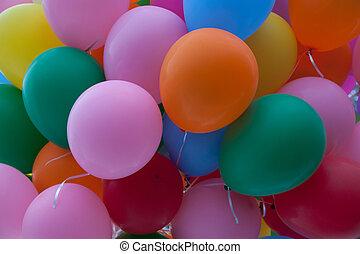 coloridos, balões, Partido