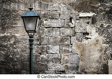textured stone wall, Spanish city of Valencia, Mediterranean...