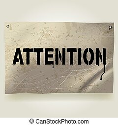Signboard - Vector image of metallic crumpled and spotted...