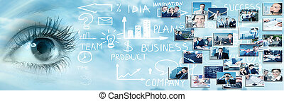 Human eye over abstract business background. Vision...