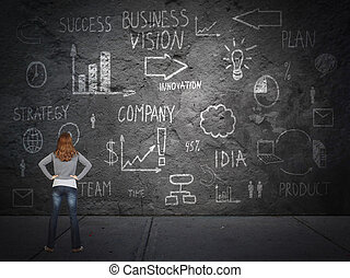 Young woman looking at innovation plan Business strategy...