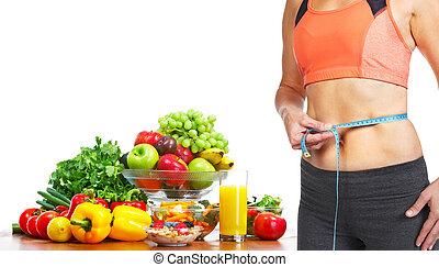 Woman measuring her body - Woman measuring her body. Diet...