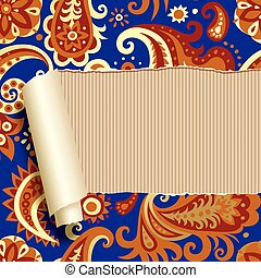 Ripped paper with floral ornament - Vector image of ripped...