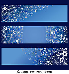 Set of banners blue with 3d white snowflakes
